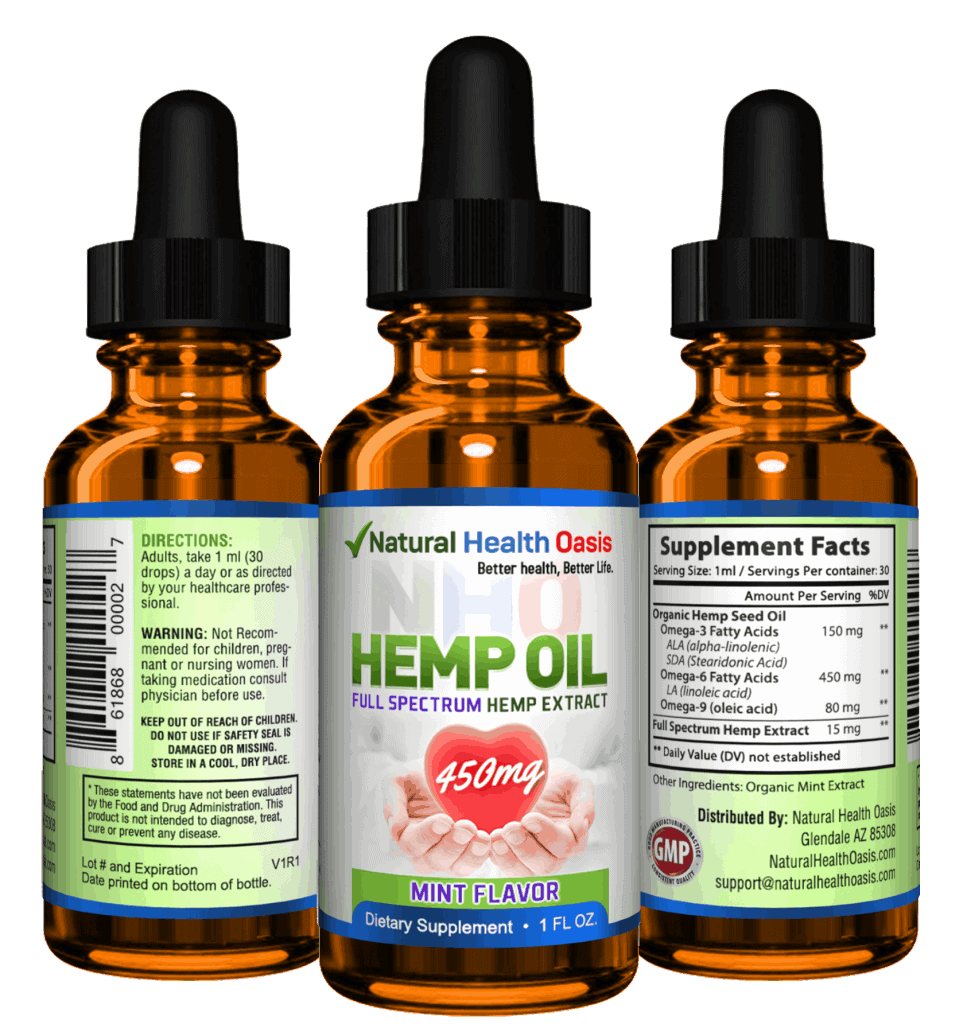 NHO Full Spectrum Hemp Oil Extracts front facts back
