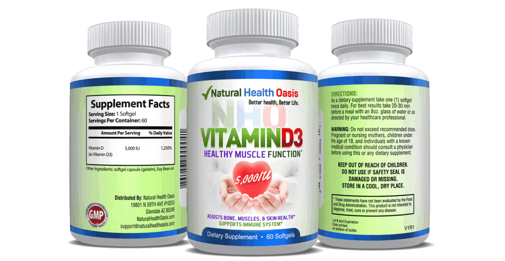 Natural Health Oasis NHO Vitamin D3 5000 IU